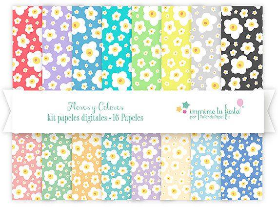 {NUEVO} Kit de Papeles Digitales | 16 Papeles Digitales en 16 alegres y primaverales colores. Úsalos para hacer tarjetas, scrapbooking, decoración, decoupage y más! Tu creatividad es el límite ;)