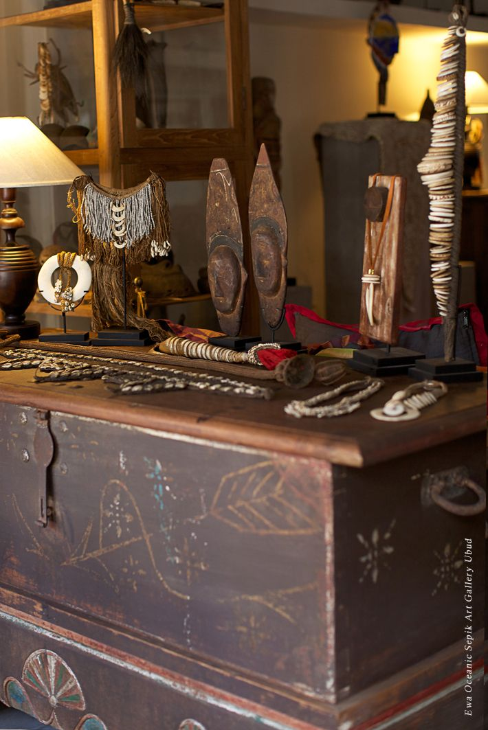 Tribal treasures at Ewa Gallery in Ubud, Bali.  Featuring an array of Oceanic Art pieces from the Sepik River of Papua New Guinea.