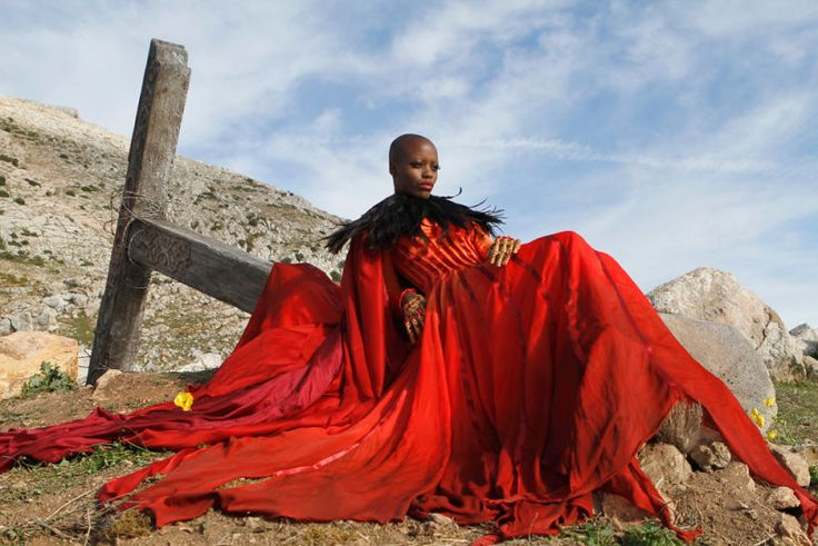 Wizard of Oz show Emerald City.  Florence Kasumba as the Wicked Witch of the East