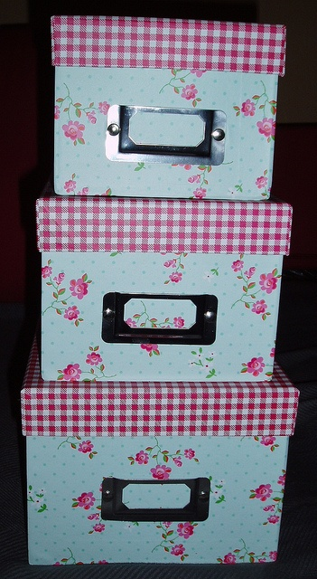 Rose and Red Gingham Storage Boxes. Bought from www.dotcomgiftshop.com/. Made of sturdy cardboard. Very cute.