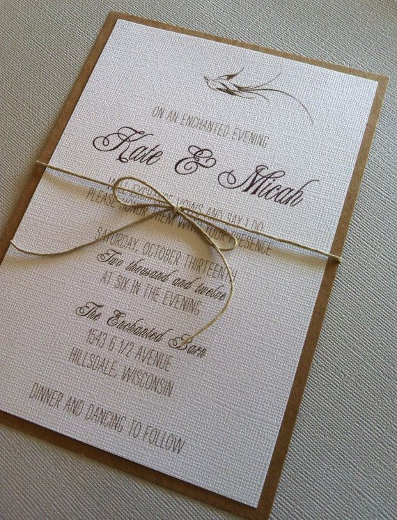 Rustic Romantic Bird Wedding Invitations