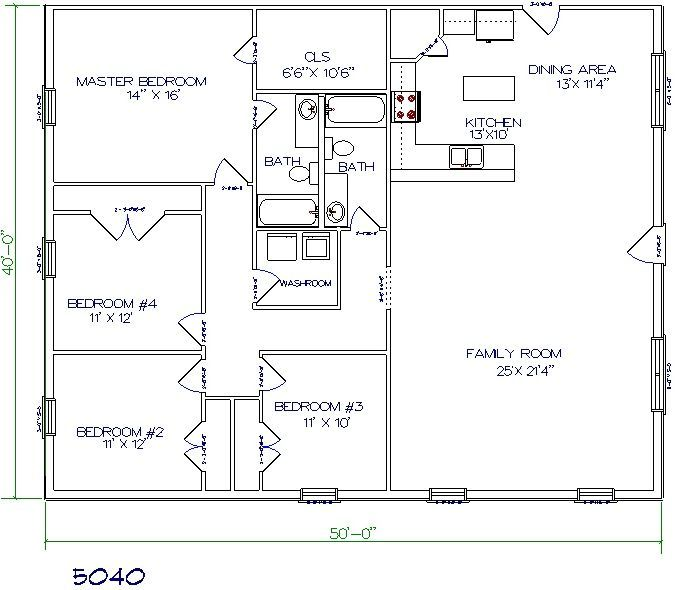 Barndominium floor plan 4 bedroom 2 bathroom 50x40 pole for Floor plans for pole barn homes