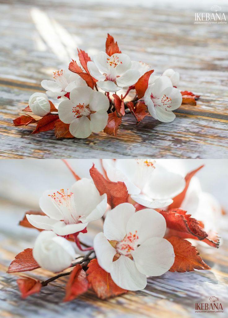 Foamiran Hairclip 'Gean' | Заколка для волос из фоамирана «Дикая вишня» — Купить, заказать, заколка, гребень, аксессуар, для волос, фоамиран, цветок, цветы, ручная работа, мода, стиль