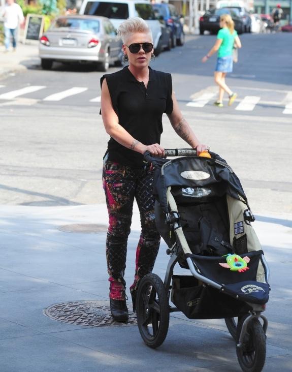 Pink rocks our BOB Revolution all-terrain jogging stroller