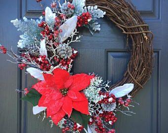 El 30% de la guirnalda de la flor de Pascua, flores de Pascua de Navidad, vacaciones guirnaldas, guirnaldas rojas y blancas, decoración de Navidad, guirnaldas, guirnaldas de la flor de Pascua de la puerta