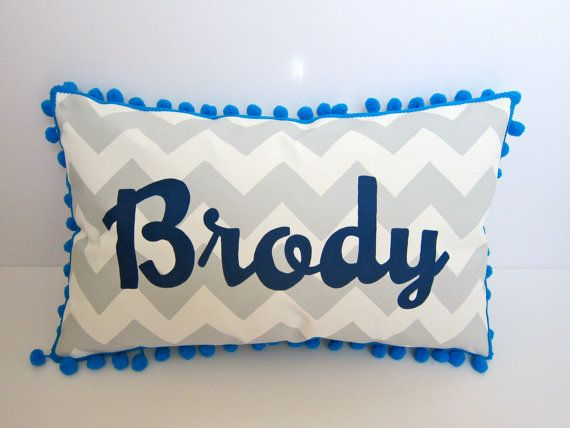 Baby pillow in light gray chevron. Personalized name in navy blue script. on Etsy, $39.00