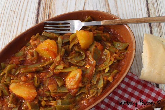 Tapitas y Postres: Habichuelas verdes con tomate y patatas