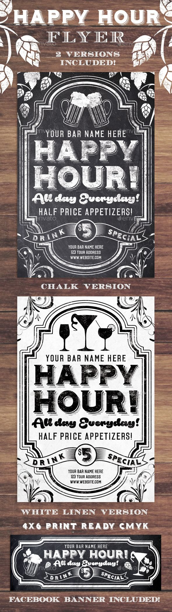 Chalk Happy Hour Flyer Invite — Photoshop PSD #music #banner • Available here → https://graphicriver.net/item/chalk-happy-hour-flyer-invite/14031565?ref=pxcr