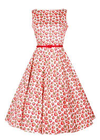 Strawberry Print Belt Design Sleeveless Skater Dress on sale only US$27.79 now, buy cheap Strawberry Print Belt Design Sleeveless Skater Dress at lulugal.com