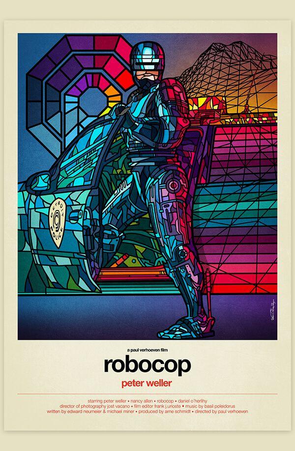 Pôsteres de filmes conhecidos ilustrados em estilo vitral - O estúdio Van Orton Design criou pôsteres de filmes como Robocop, Batman, Ghostbusters, Star Wars e outros em estilo Vitral. Confira!