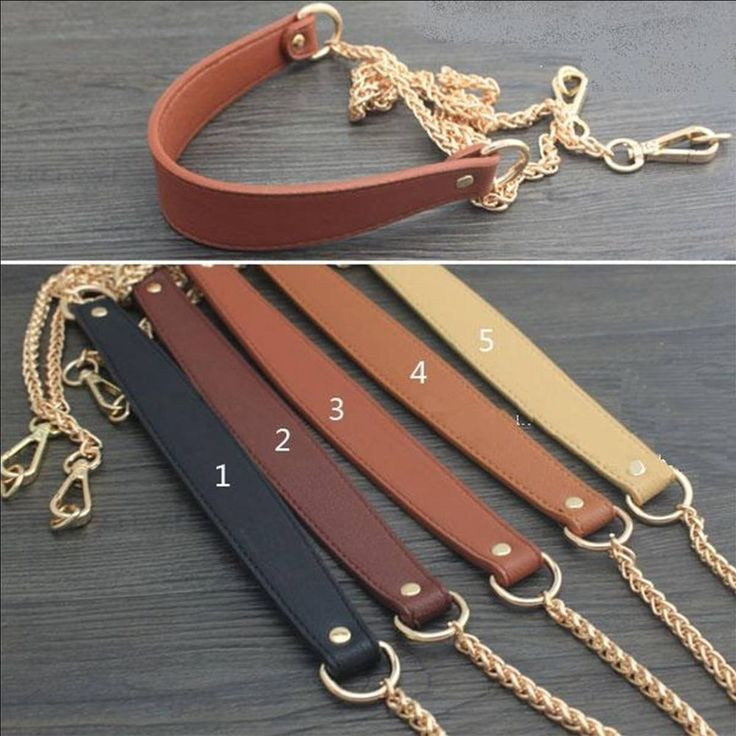 Replacement clip on 8mm Thick Gold Chain + PU Leather Shoulder Bag Purse Strap