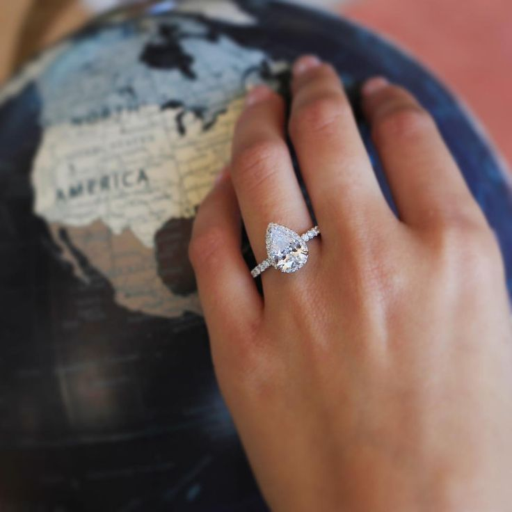 "HowHeAsked on Instagram: ""We've been seeing more and more pear-shaped diamonds out there in the world and we couldn't be happier about it. We especially love this @KirkKara engagement ring because they paired the classic shape with a modern (and simply stunning) design. More amazing rings over on @kirkkara's insta! """