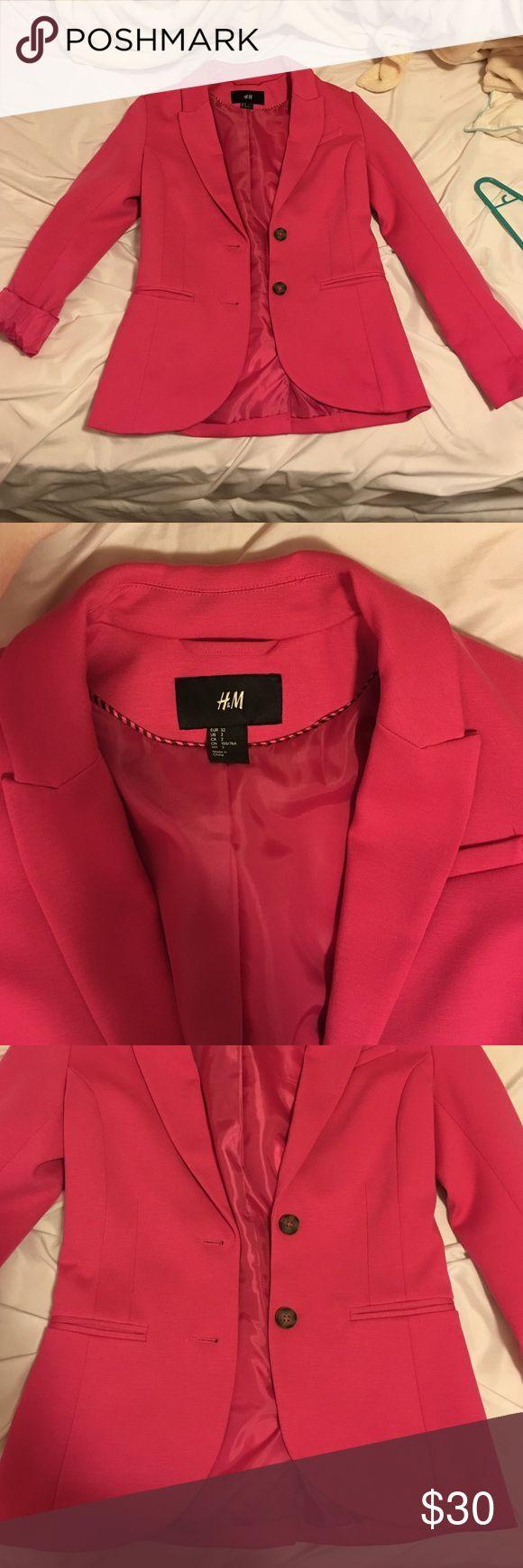 Hot pink H&M boyfriend fitted blazer Boyfriend fit! Never worn. H&M Jackets & Coats Blazers