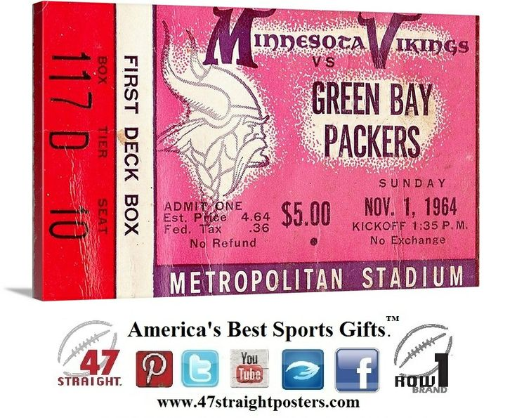 50% Off all canvas art until midnight on 11/29/13. #BlackFriday #BlackFridaySale #BlackFridayDeals #football #NFL #art #Minnesota #Vikings 1964 #GreenBay #Packers vs. Minnesota Vikings football ticket art on canvas. #47straight Use code Black50 at checkout.