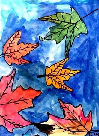 Watercolor+leaves+-+Artsonia+Lesson+Plan