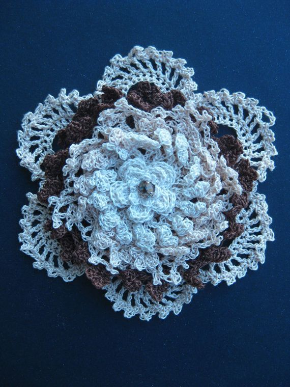 Hey, I found this really awesome Etsy listing at https://www.etsy.com/listing/227307157/crochet-flower-corsage-rose-brooch