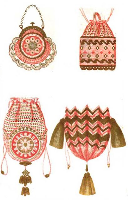 Ok, tampo esto es frivolité, pero están bellísimas!  :)  Stunning French crochet bag patterns from 1855.