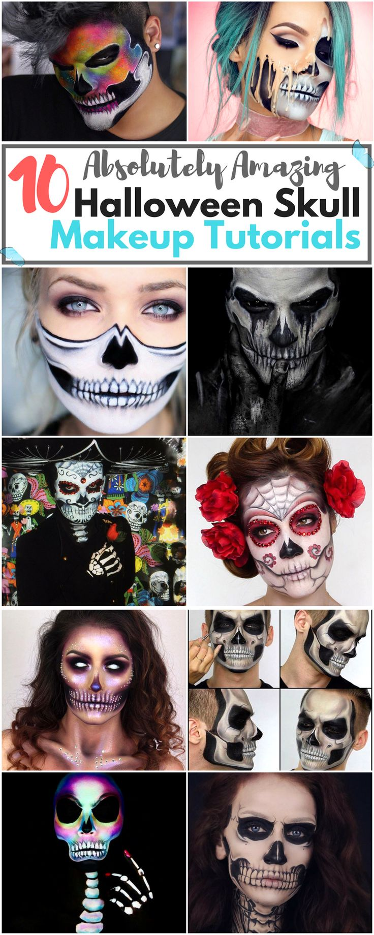 Do you need a Halloween costume, without the costume? We got your back! These 10 absolutely amazing Halloween Skull Makeup Tutorials are so good, you won't need anything else! Perfect for a budget-friendly Halloween!