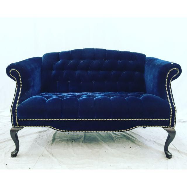 Vintage Navy Blue Tufted Velvet Loveseat Nautical City