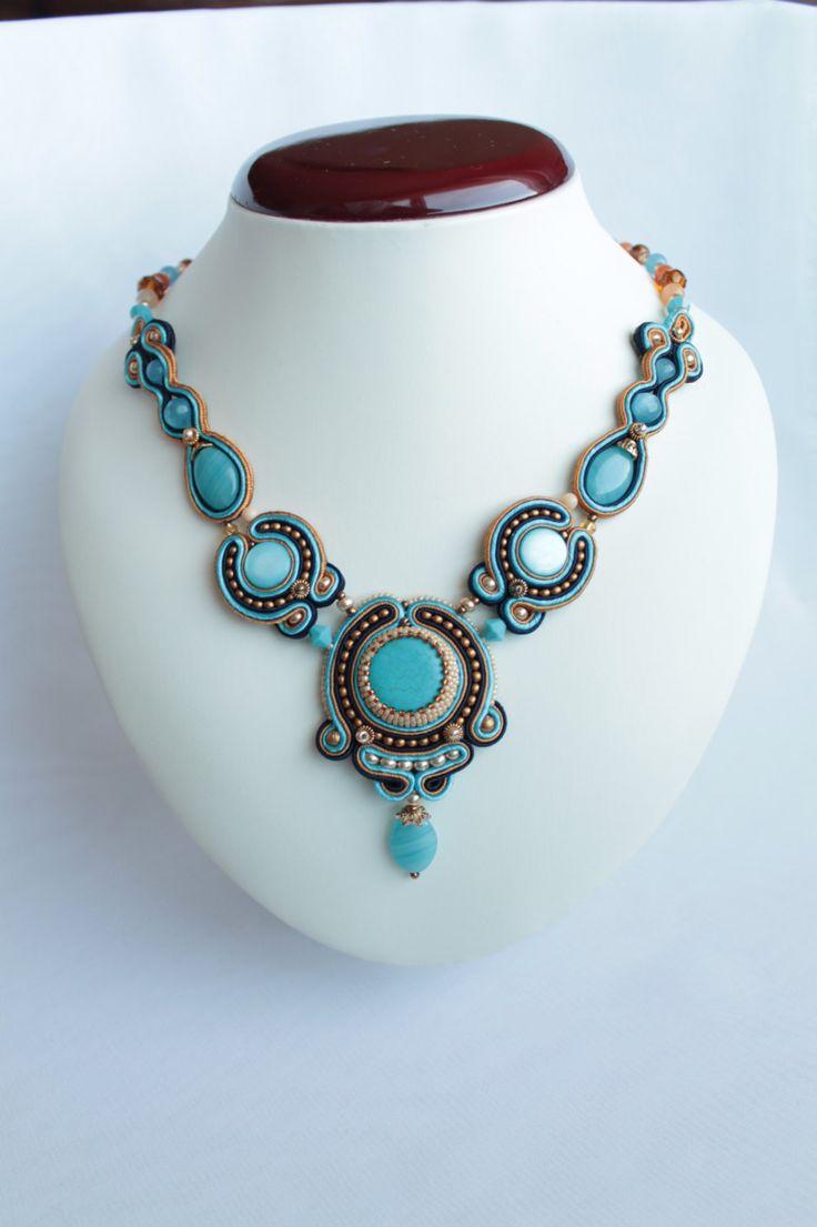 Blue soutache necklace.. €50.00, via Etsy.