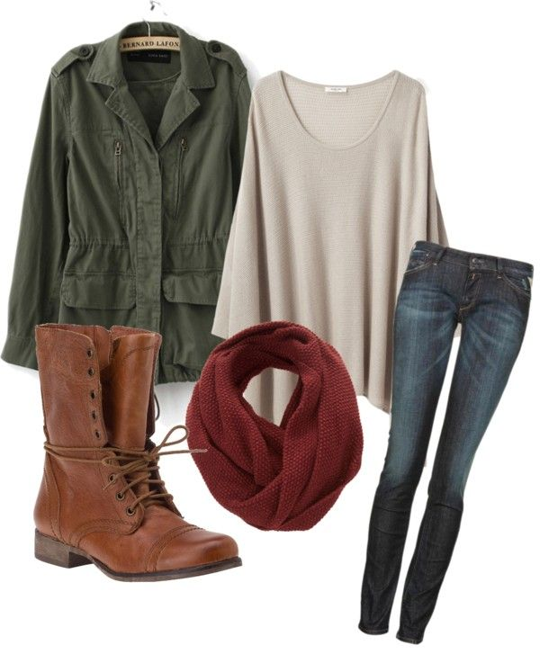 green military jacket, maroon circle scarf, oversized t-shirt, brown combat boots