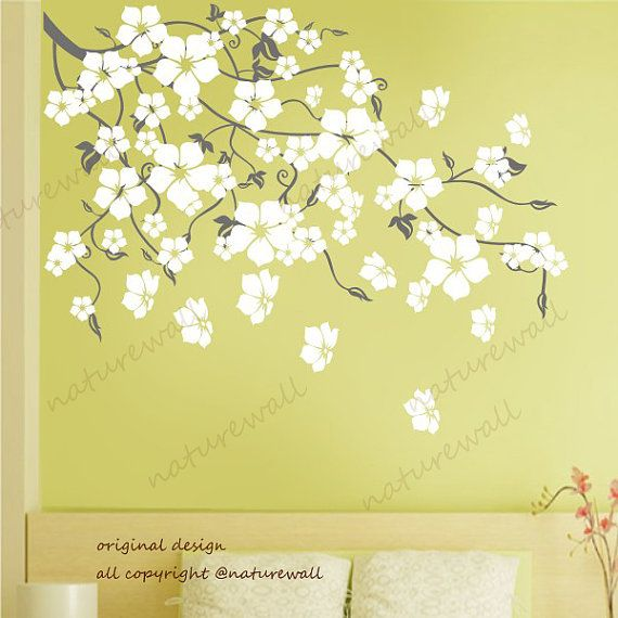 Vinyl wall decals wall stickers blossom branch decals baby nursery kids white flower floral nature  wall decor wall art- Cherry Blossom Tree