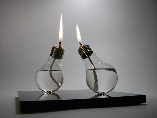 20.) Convert used light bulbs into oil lamps.