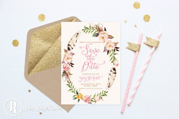 Bohemian Blush Pink and Gold Save the Date Bohemian Blush by RubyRidgeStudios on Etsy