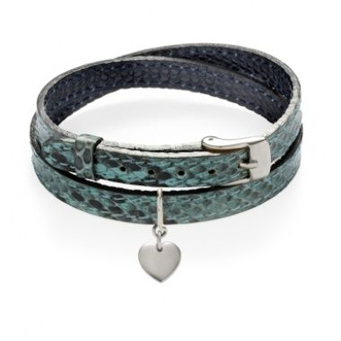 Fantastic inspiration for New Year's Eve party! Python bracelet turquoise/green with silver heart will suit every outfit you choose for that special night. #lilou #bracelet #python #leather #heart #new #years #eve #inspirations