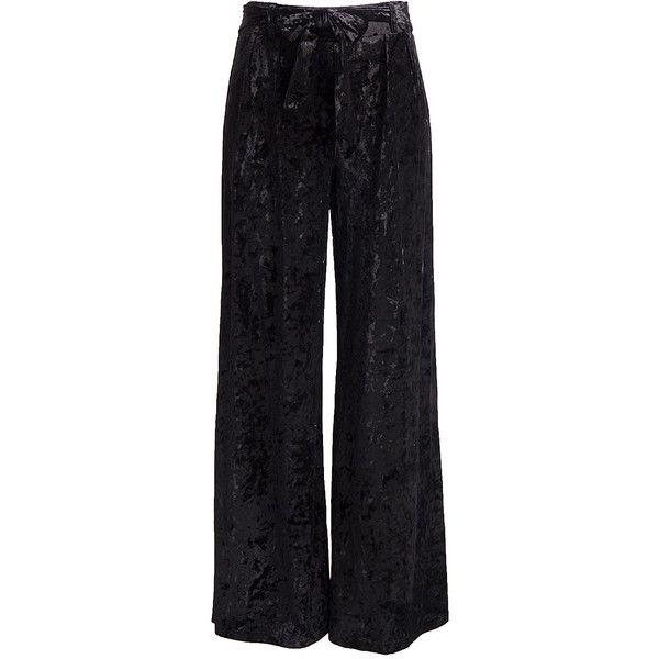 Fashionomics Black Crushed Velvet Tie-Waist Wide-Leg Pants ($30) ❤ liked on Polyvore featuring pants, wide leg pants, retro pants, sports pants, sports trousers and sash belt