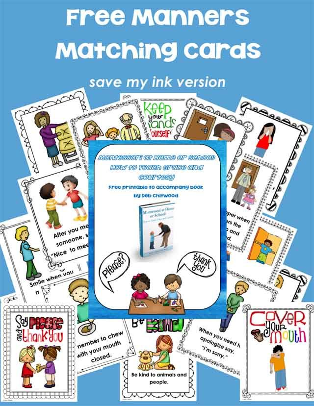 Manners Matching Cards - The free printable manners cards can be used for matching or a concentration game. Just print out two copies of the cards.