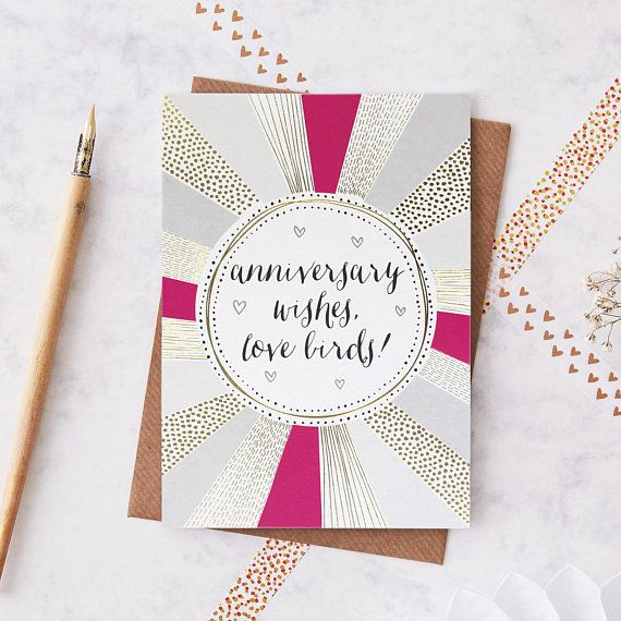 An anniversary card that is pretty and romantic. The design features a pattern that has been printed in gold foiling, alongside the text anniversary wishes, love birds.  This anniversary card would make a lovely send to parents or friends. This anniversary card has been left blank for your own personal message. It has been printed onto a beautiful matte board with a finished size of 12cm by 17cm, making it suitable for first or second class UK post. The greeting card is cellophane wrapped…
