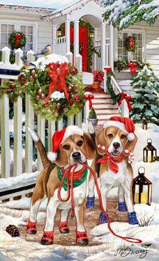 Beagle - Christmas Welcome -  by Margaret Sweeney