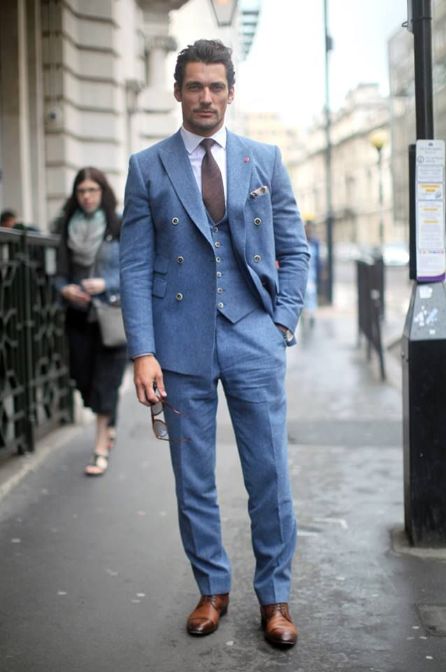 David Gandy on a pale blue Duchamp suit.