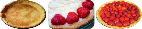 Aardbeientaart recept: bak een vel bladerdeeg droog, vul met pudding en verse aardbeien, laat blinken door en lauwe abrikozengelei over te b...