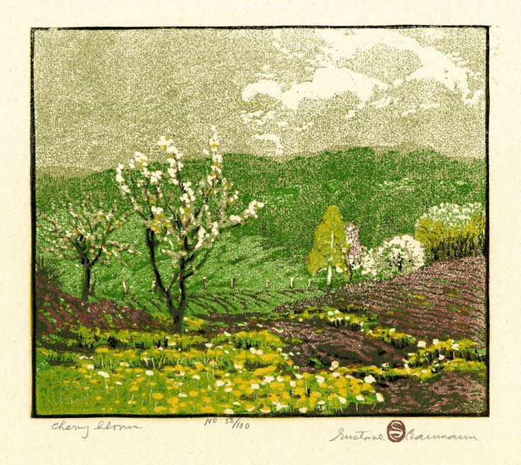 Gustave Baumann (1881-1971) - Cherry Bloom. Woodblock Print. Circa 1917.