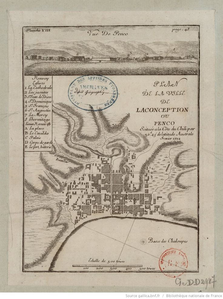 Plan de la ville de La Conception ou Penco scituée à la côte du Chili par 36d 45'de latitude australe / Frézier | Gallica