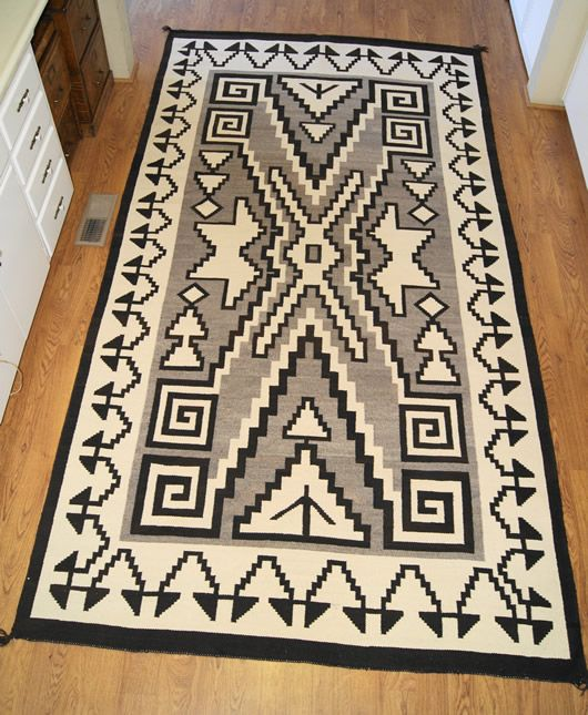 Historic Two Grey Hills Storm Pattern Variant Navajo Rug Weaving