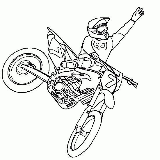dibujo de  colorear motocross freestyle salto xgames