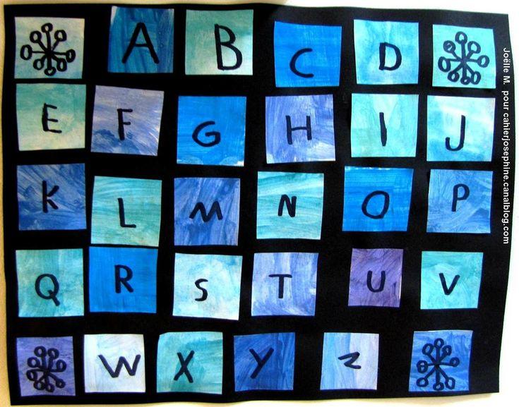 chaque enfant devait choisir une couleur puis fabriquer le plus de nuances différentes pour colorier des petits bouts de papier. Chaque bout de papier a ensuite été découpé en 4 puis les enfants les ont agencés de façon à ne jamais avoir deux fois la même teinte côte à côte. Enfin, ils ont décoré les quatre angles puis tracer l'alphabet au gros feutre noir.