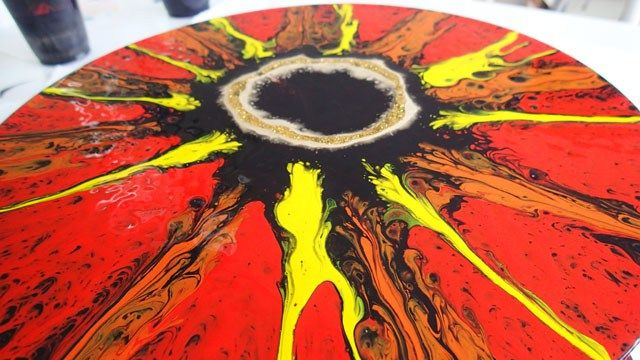 Lord of the Rings Inspired acrylic spin painting