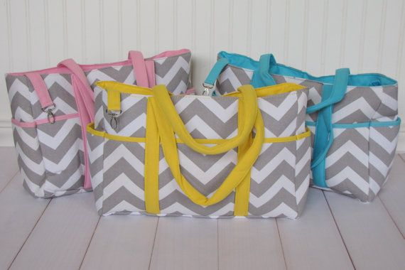 SaleGray Chevron Diapers Bags in Blue Yellow and by Appleberryblue