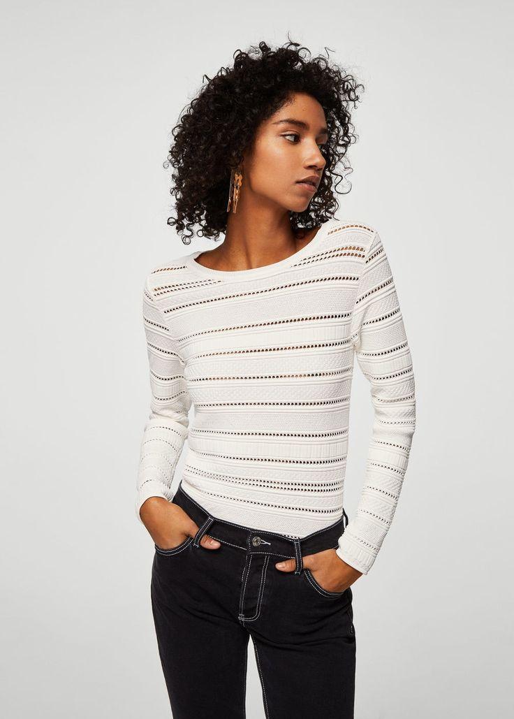 2018 $70  Openwork panel sweater