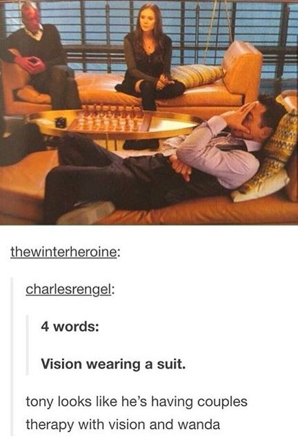 Tony, Vision, and Wanda