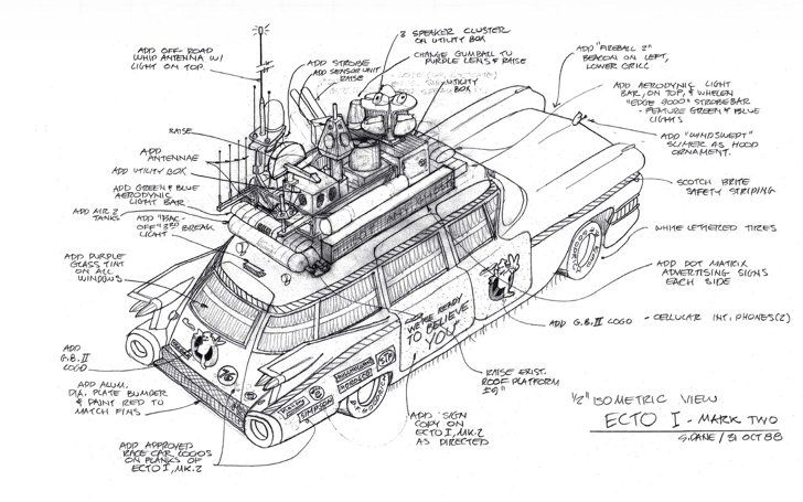 Pin for Later: You'll Never Watch Ghostbusters the Same Way After Seeing These Rare Pictures  Stephen Dane's illustration of Ghostbusters II's Ectomobile, featuring a roof rack even more stuffed with gadgets than before.
