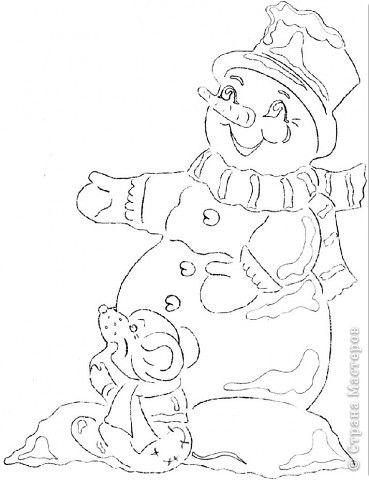 Картина панно рисунок Новый год Вырезание Снеговик с мышкой Бумага фото 3