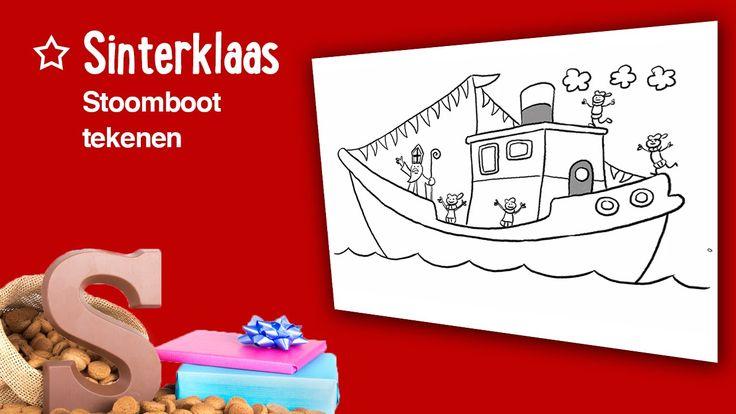 Teken de stoomboot van Sinterklaas!