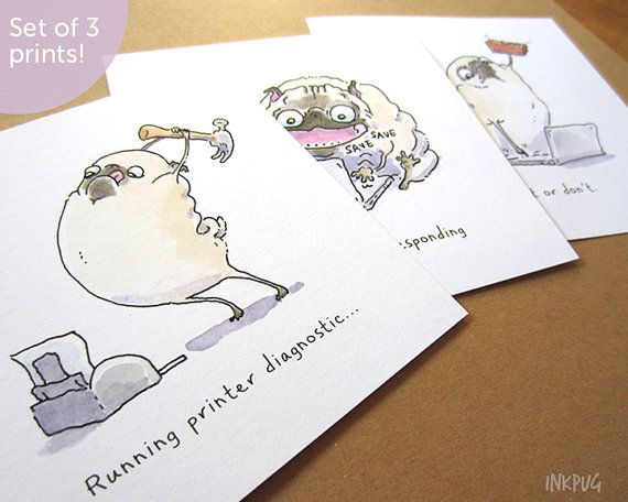 Tech Support Pugs  Set of 3 Square Art Prints  Tech gift by InkPug