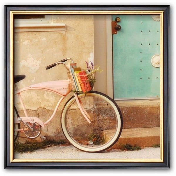 Art.com ''Vintage Pink Bike'' Framed Art Print by Mandy Lynne (Brown) ($92) ❤ liked on Polyvore featuring home, home decor, wall art, backgrounds, pictures, brown, framed wall art, vintage home accessories, vintage home decor and pink home decor