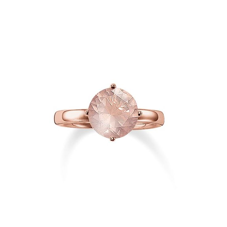 THOMAS SABO Ring from the Sterling Silver Collection. [Artikeltabelle]Category:Ring Material:925 Sterling silver, 18k rose gold plating Stones:rose quartz Measurements:Width ca. 1,1 cm (0,396 Inch) Itemnumber:TR2039-536-9[/Artikeltabelle]